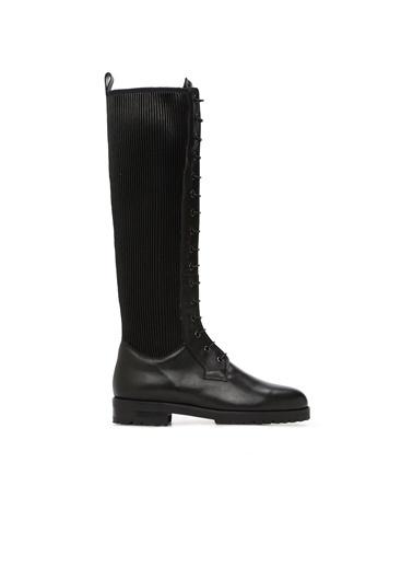 Divarese Divarese 5024738 Bağcık Detaylı Deri Kadın Çizme Siyah